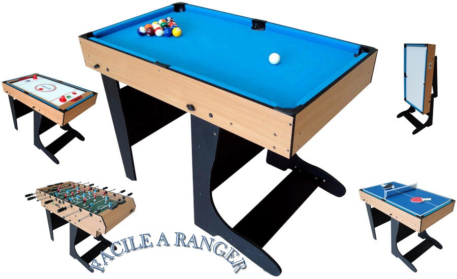 Table multi jeux 12 en 1 billard baby foot air hockey ping pong