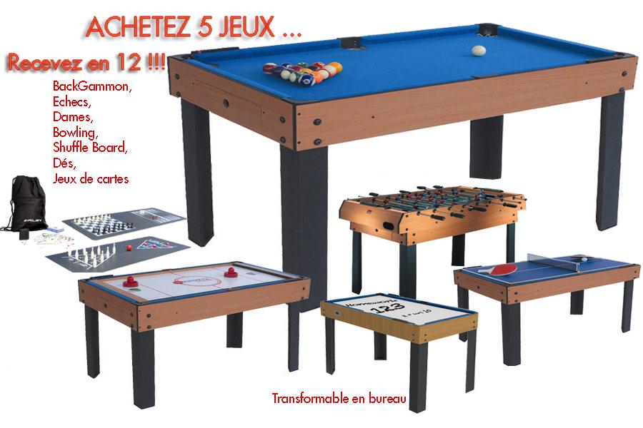 table multi jeux 12 en 1 billard baby foot air hockey ping. Black Bedroom Furniture Sets. Home Design Ideas